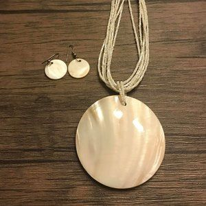 Jewelry - Gorgeous White Shell Necklace with Dangle Earrings